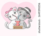 cute couple cats drinking... | Shutterstock .eps vector #1649390356