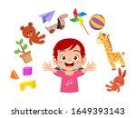 happy cute little kid girl play ...   Shutterstock .eps vector #1649393143
