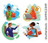 woman in action for business...   Shutterstock .eps vector #1649412349