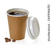 coffee in blank craft take away ... | Shutterstock . vector #164946650
