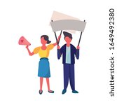 activists couple with protest... | Shutterstock .eps vector #1649492380