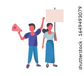 activists couple with protest... | Shutterstock .eps vector #1649493079