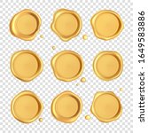 wax seal collection. gold stamp ...   Shutterstock .eps vector #1649583886