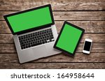 open laptop with digital tablet ... | Shutterstock . vector #164958644