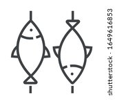 bbq fish line icons on white... | Shutterstock .eps vector #1649616853