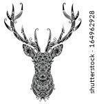 pattern in a shape of a deer. | Shutterstock .eps vector #164962928