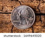 quarter american dollar with ... | Shutterstock . vector #1649645020