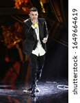 Small photo of SANREMO, ITALY - FEBRUARY 06: Singer Junior Cally attends the third evening of the 70th Sanremo Music Festival on February 06, 2020 in Sanremo, Italy.