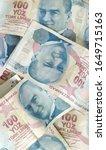 turkish liras. 100 tl turkish... | Shutterstock . vector #1649715163