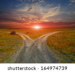 countryside roads on sunset...   Shutterstock . vector #164974739