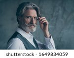 Small photo of Close up photo of charismatic old dandy millionaire touch his expensive spectacles look dream dreamy wear trend shirt isolated over grey color background