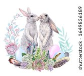 Easter Bunnies Watercolor...