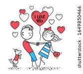 girl with guy swirl holding... | Shutterstock . vector #1649850466