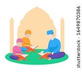 muslim teacher teach reading... | Shutterstock .eps vector #1649870386