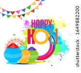 happy holi vector elements for... | Shutterstock .eps vector #1649882200