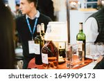 Small photo of Strasbourg, France - Feb 16, 2020: Awards for wines at the Vignerons independant English: Independent winemakers of France wine fair for private and horeca customers