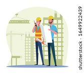 construction worker checking...   Shutterstock .eps vector #1649922439