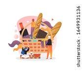 huge basket with grape  wine... | Shutterstock .eps vector #1649931136