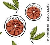 grapefruit. seamless pattern.... | Shutterstock .eps vector #1650013363