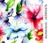 beautiful flowers  watercolor... | Shutterstock . vector #165001676