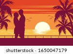 romantic couple kissing  sunset ... | Shutterstock .eps vector #1650047179