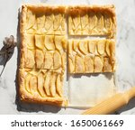 apple pastry top view on white. | Shutterstock . vector #1650061669
