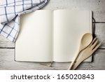 Blank Recipe Book On Wooden...