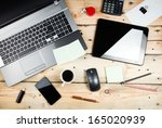 workplace  laptop and tablet pc ... | Shutterstock . vector #165020939