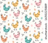 cute childish hens and eggs... | Shutterstock .eps vector #1650225889