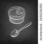 creme brulee. chalk sketch on... | Shutterstock .eps vector #1650236350