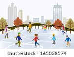 people ice skating on urban ice ... | Shutterstock .eps vector #165028574