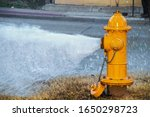 Yellow Fire Hydrant Wide Open...