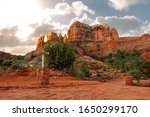 Small photo of Cathedral Rock and Templeton hiking trails in the red rock mountains of Sedona, Arizona USA