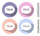 trendy flat icons with speech...