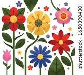 flat blooming flower with grain ...   Shutterstock .eps vector #1650390430