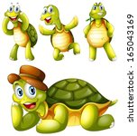 Stock vector illustration of the four playful turtles on a white background 165043169
