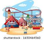 fun fair theme park on isolated ... | Shutterstock .eps vector #1650464560