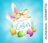 happy easter bunny ears with... | Shutterstock .eps vector #1650489733