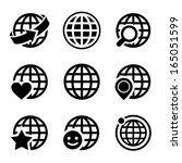 globe earth vector icons set | Shutterstock .eps vector #165051599