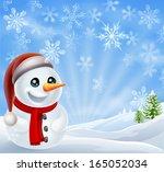 a cartoon snowman standing in a ...