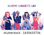 happy women's day. horizontal...   Shutterstock .eps vector #1650633736