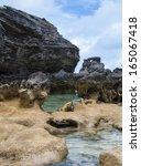 columns of limestone rocks.... | Shutterstock . vector #165067418