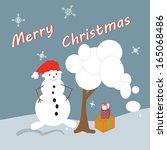 winter postcard with snowman... | Shutterstock .eps vector #165068486