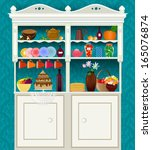retro vintage sideboard with... | Shutterstock .eps vector #165076874