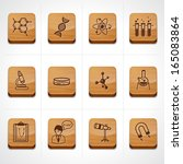 wood texture button science icon set  - stock vector