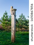 Small photo of Greenfield, Flintshire, UK: Feb 6, 2020: The Lookout is a carved wood sculpture by Mike Owens. The sculpture faces the River Dee estuary on the North Wales Coastal Path.