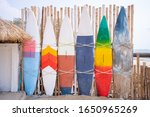 Wooden Vintage Surfboard And...