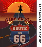 vintage route sixty six road...   Shutterstock . vector #1650991216