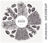 hand drawn dates leaves  fresh... | Shutterstock .eps vector #1651008169
