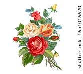 floral bouquet with bright red... | Shutterstock .eps vector #1651016620